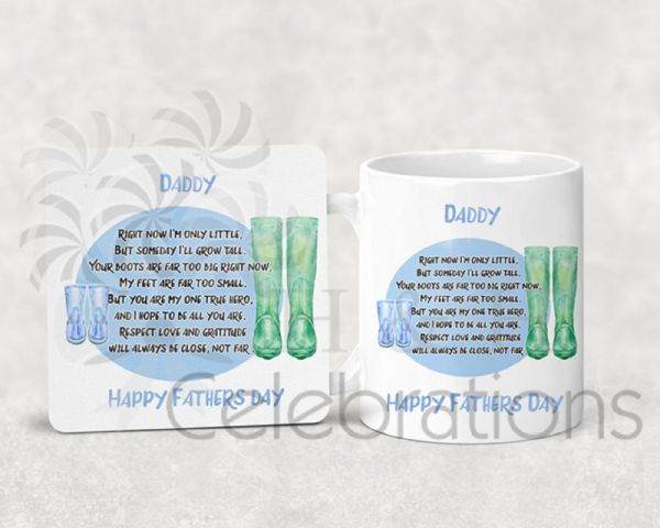 Daddy Happy Father's Day Wellies Personalised Coaster